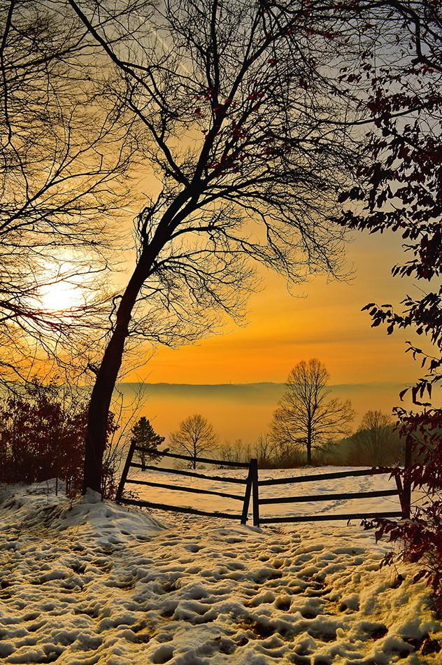 Zima,sneg zalazak sunca