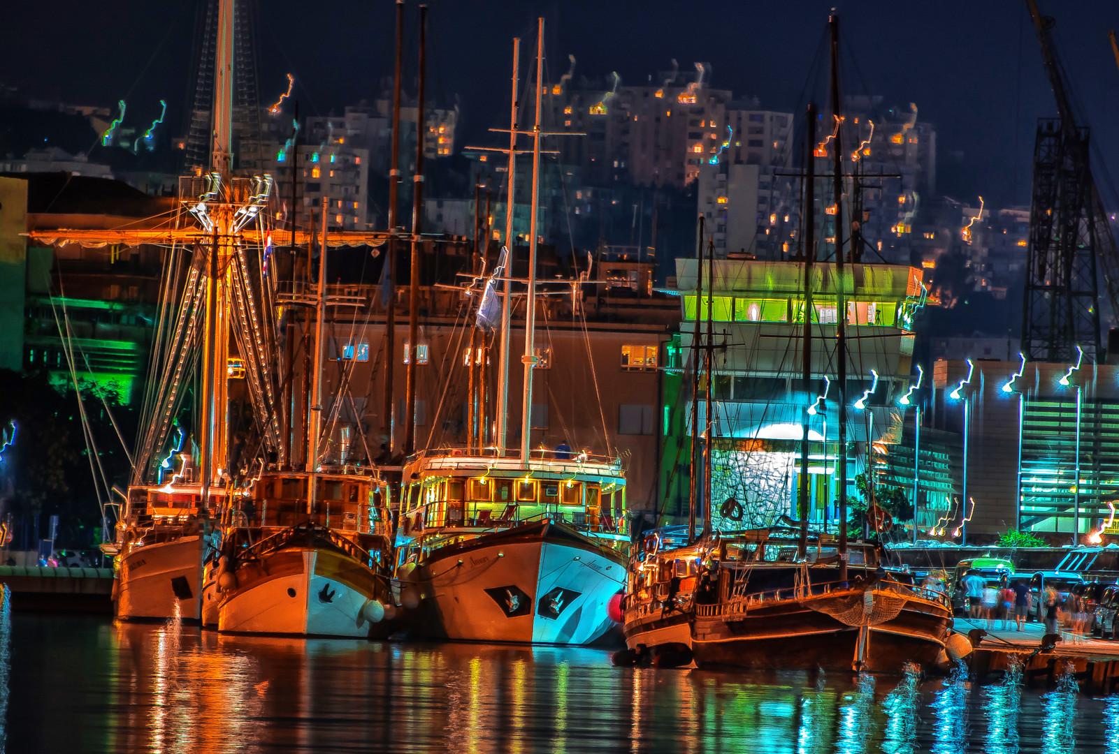 port at night.
